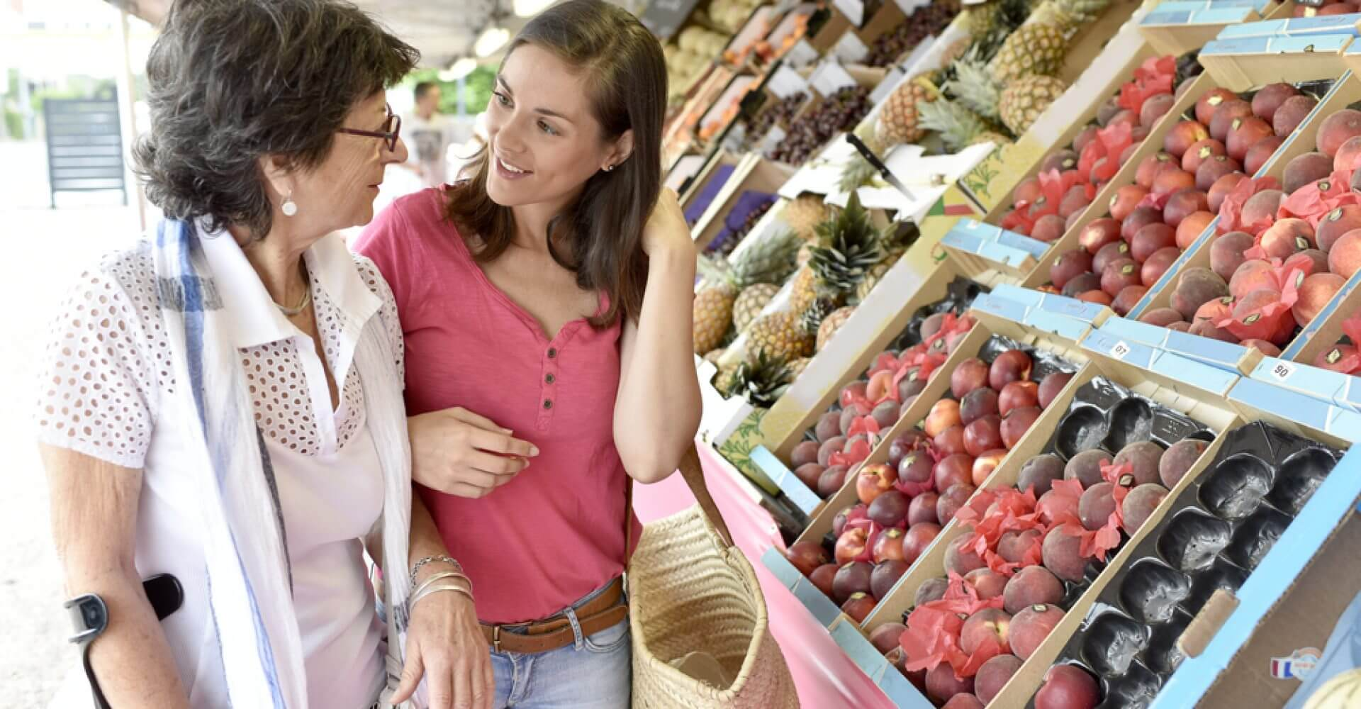 Senior,Woman,Going,To,Grocery,Store,With,Help,Of,Carer